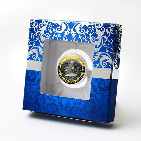 Лайткоин. Гравированная монета 10 рублей в подарочной коробке.
