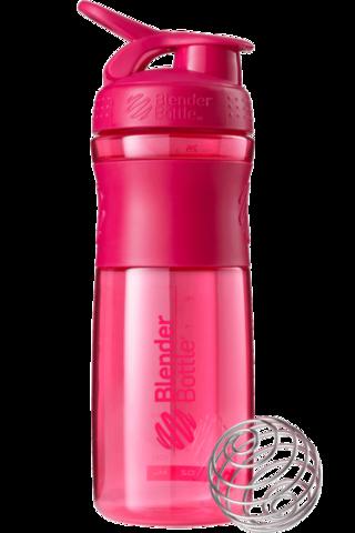 BlenderBottle SportMixer, Универсальная Спортивная бутылка-шейкер с венчиком.  Pink-малиновый 828 мл cat