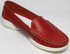 Модные женские туфли без каблука стиль smart casual Evromoda 042.5710 WRed.