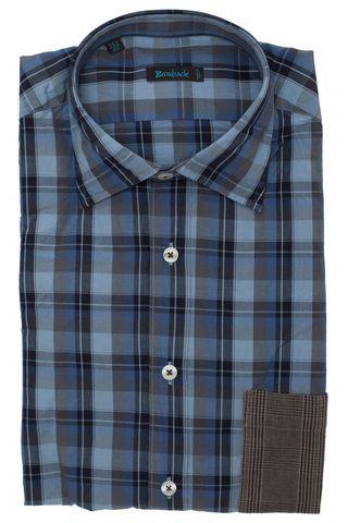 Синяя рубашка в голубую клетку с накладным коричневым карманом