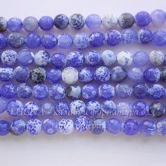 Бусина Агат (тониров), шарик с огранкой, цвет - васильковый, 8 мм, нить