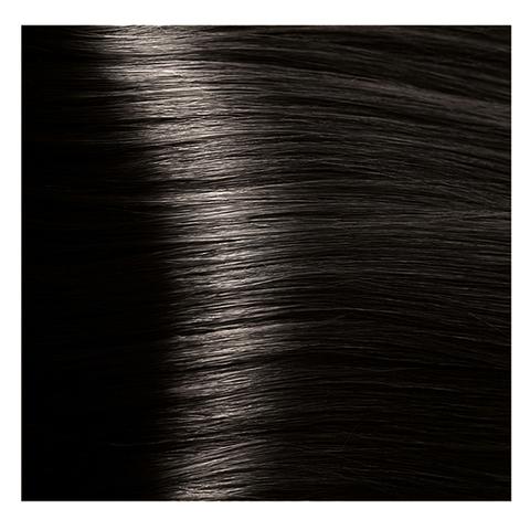 Крем краска для волос с гиалуроновой кислотой Kapous, 100 мл - HY 4.00  коричневый интенсивный