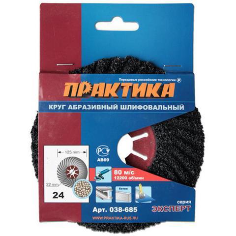 Круг абразивный торцевой ПРАКТИКА 125 х 22 мм Р 24 (1 шт)  картонный подвес (038-685)