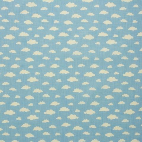 Ткань хлопковая белые облачка на голубом