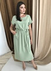 Ариадна. Однотонное красивое платье больших размеров. Оливка