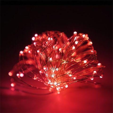 LED Гирлянда на проволочке тонкой для дома 100 LED красный