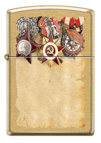 Зажигалка Zippo Советские ордена, латунь/сталь с покрытием Gold Dust™, золотистая, 36x12x56 мм123