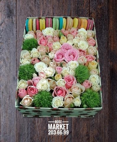 Цветы и macaron ( 10 шт.) #20623