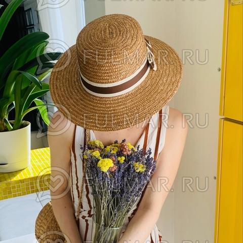 Соломенная канотье женская шляпа с лентой (цвет: классический)