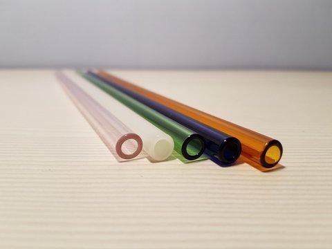 Трубочка стеклянная прямая зеленая