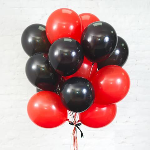 25 шаров 36 см черный и красный