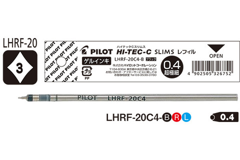 Стержни гелевые игольчатые Pilot Hi-Tec-C LHRF-20C4 (форм-фактор D1)