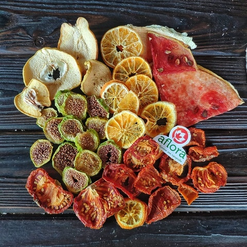 Фотография Чипсы микс /айва, инжир, апельсин, томат, арбуз/ 100 г купить в магазине Афлора