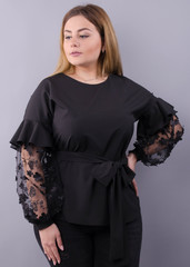 Карина. Женская блуза с рюшами больших размеров. Черный.