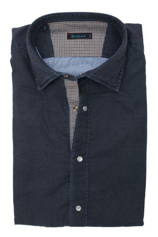 Тёмно-синяя рубашка из ткани с выработкой со стеклянными белыми пуговицами-кнопками и шикарной верхней голубой
