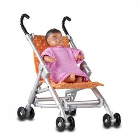 Прогулочная коляска и малыш Lundby 60509500