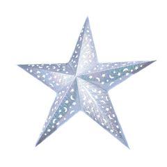 Звезда бумажная 90 см голографическая серебряная