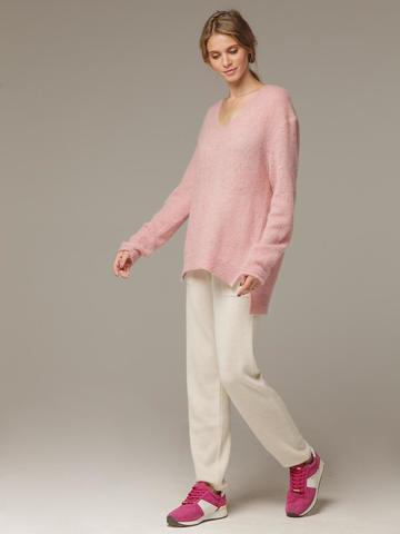 Женский розовый джемпер с V-образным вырезом 100% мохер - фото 4