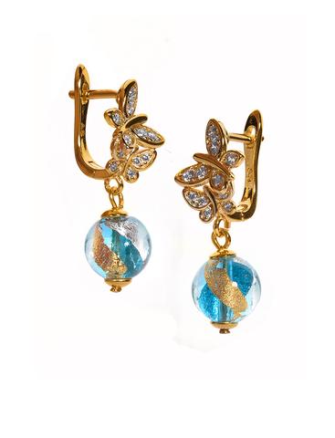 Серьги из муранского стекла со стразами в виде бабочки Perla Farfalla золотисто-голубые