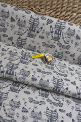 Льняная интерьерная ткань, принт коты