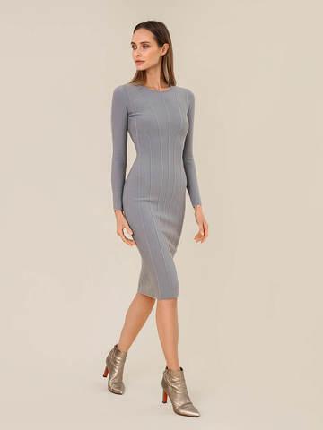 Женское платье серого цвета из шерсти - фото 3