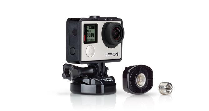 Крепление-адаптер для стойки микрофона GoPro ABQRM-001 Mic Stand Adapter с камерой