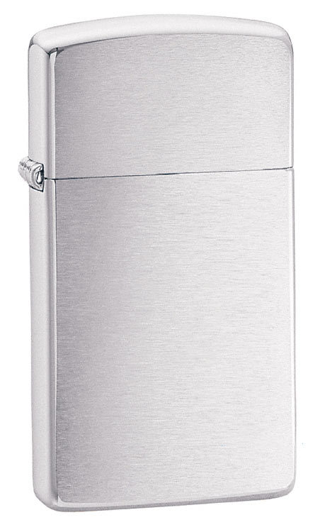Зажигалка Zippo Slim Brushed Chrome, латунь/сталь, серебристая, матовая, 30х10x55 мм