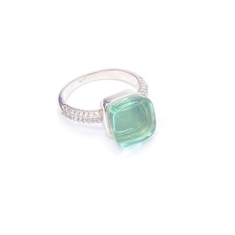 33304 - Серебряное кольцо Caramel с кварцем цвета морской волны