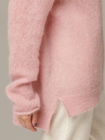 Женский розовый джемпер с V-образным вырезом 100% мохер - фото 2