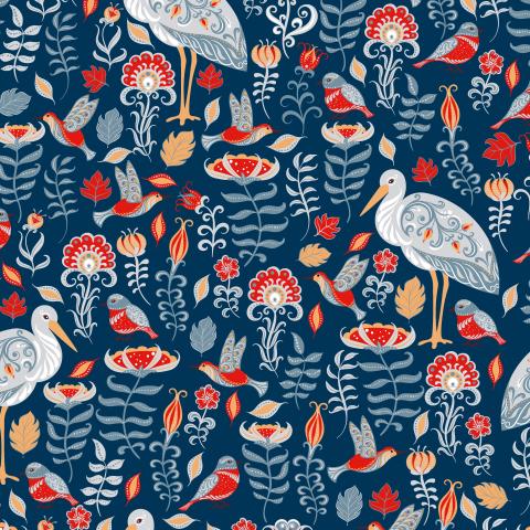 Аисты с орнаментами, цветы на синем фоне (Дизайнер Irina Skaska)