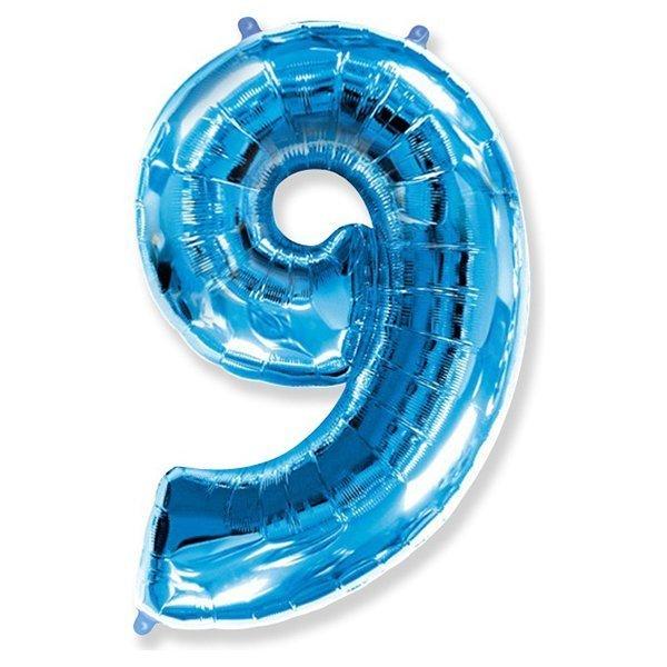 Фольгированная цифра 9, синий