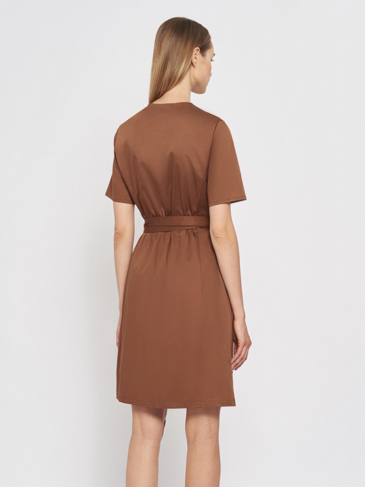 Платье Rita мини на запах, Коричневый