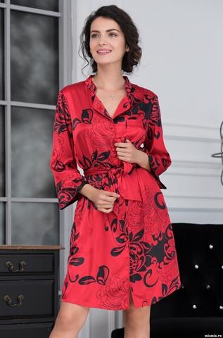 Халат рубашка  на пуговицах  MIA-AMORE Da Vinci Да Винчи 8447 красный
