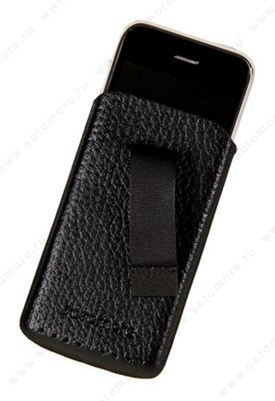 Чехол-пенал кармашек SOTOMORE для Apple iPhone 3Gs/ 3G черный со вставкой перфорация