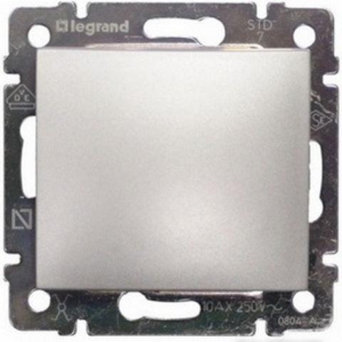 Кнопка звонка. Выключатель без фиксации - 10 A - 250 В~. Цвет Алюминий. Legrand Valena Classic (Легранд Валена Классик). 770111