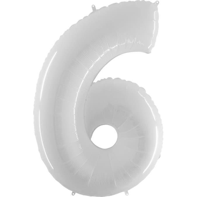 Фольгированная цифра 6, белый