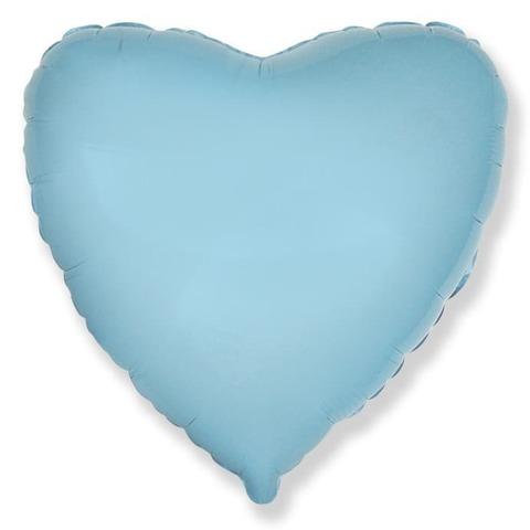 Воздушный шар сердце большое, Нежный голубой, 81 см
