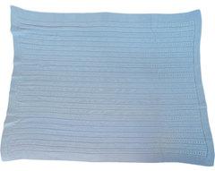Папитто. Плед вязаный однослойный косичка голубой вид 4