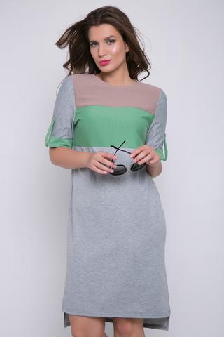 """<p><span>Платье из трикотажа прямого силуэта. Благодаря вставкам с ярким цветовым решением, платье выгладит особенно нарядным. Кроме того, такое дизайнерское решение отлично стройнит фигуру. Вырез горловины округлый, рукав до локтя с """"патой"""" на пуговице.</span></p>"""