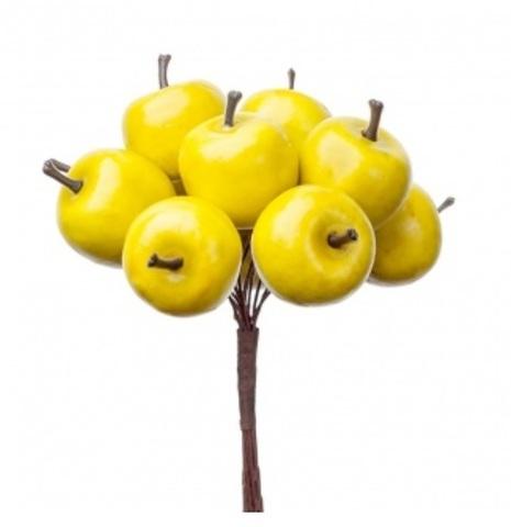 Набор яблок на вставках 12шт., размер: D2,8x2,4xL10см, цвет: зеленый