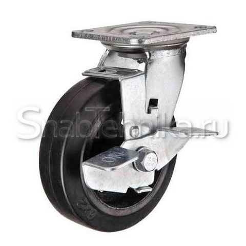 Большегрузная поворотная колесная опора с тормозом SCdb 200 литая черная резина