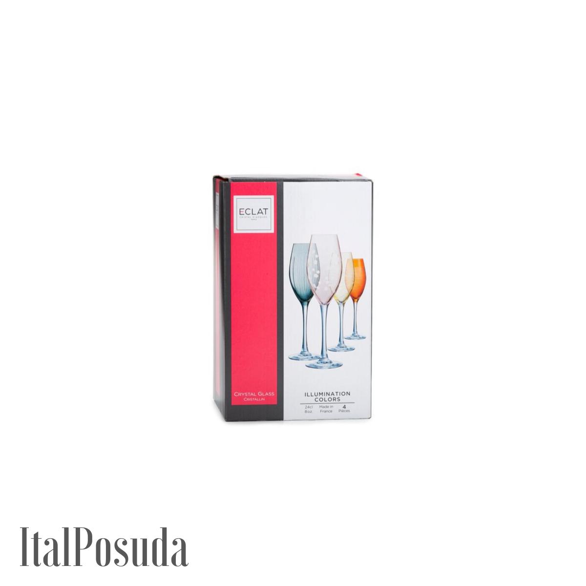 Набор фужеров для шампанского Eclat Cristal d'Arques Illumination Colors (Иллюминейшн Колорс), 4 шт L7602