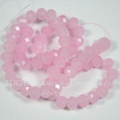 Бусина стеклянная, рондель с огранкой, цвет - розовый, 8х6 мм, нить