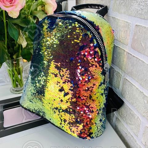 Большой рюкзак школьный для девочки в пайетках Хамелеон-Синий