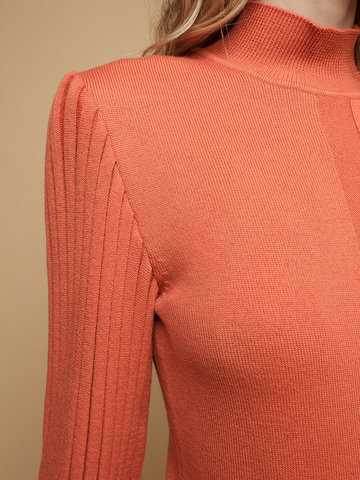 Женский джемпер терракотового цвета из 100% шерсти - фото 4
