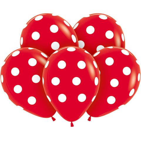 Воздушные шары красные Горошек