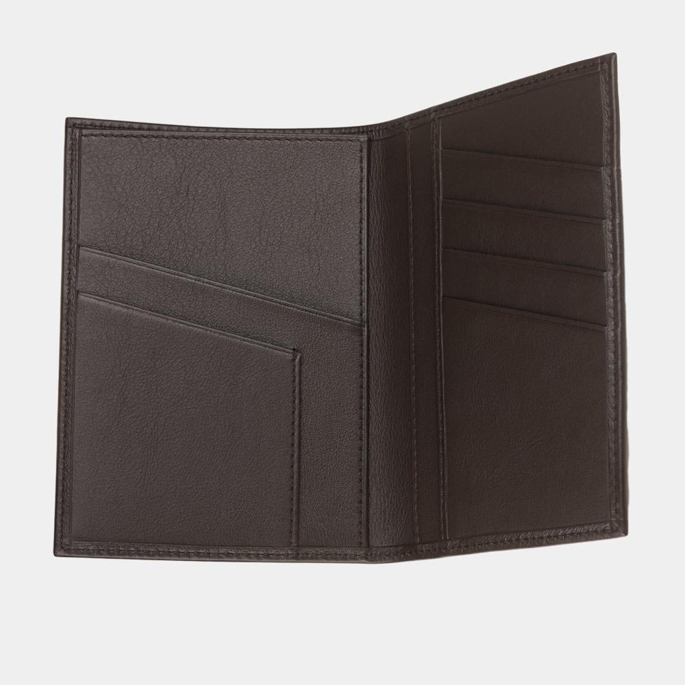 Обложка для паспорта и автодокументов Paris Easy из натуральной кожи теленка, темно-коричневого цвета
