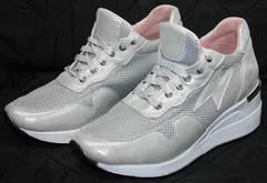 Стильные женские кроссовки Topas 4C-8045 Silver.