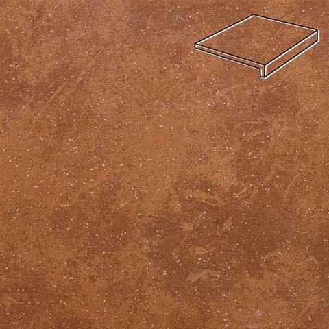 Stroeher - Keraplatte Roccia 841 rosso 240x175x52x10 артикул 4816 - Клинкерная ступень, прямой угол