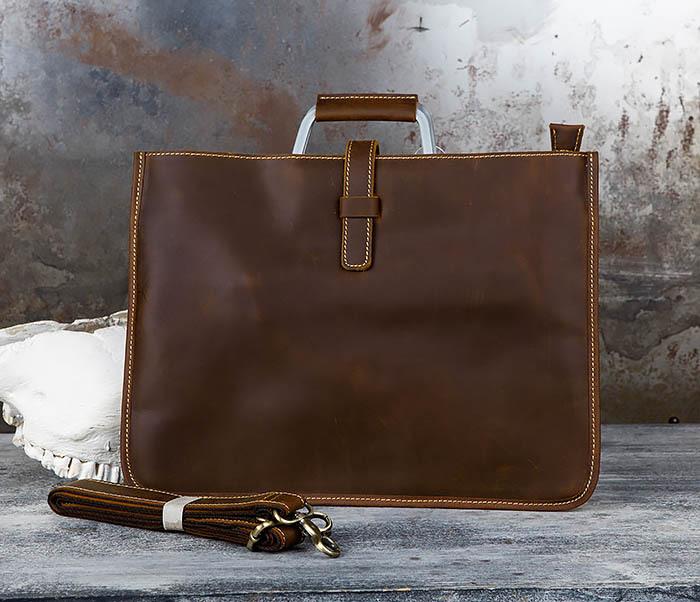 BAG440-2 Мужской портфель с ремнем на плечо из толстой кожи
